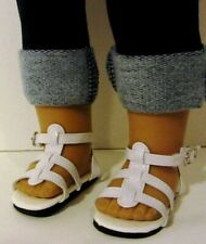 "WHITE SANDALS Strappy fits 18"" American Girl Doll,18 Inch Doll Shoes"