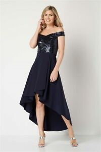 Roman Navy Sequin Bardot High Low Evening Dress Gown BRAND NEW WITH TAGS RRP £70