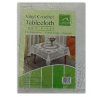 SQUARE VINYL WHITE TABLECLOTH - CROCHET LACE TABLE CLOTH DINING COVER KITCHEN