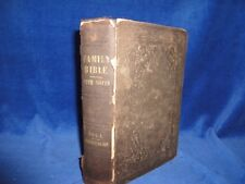 FAMILY BIBLE 1857 AMERICAN BIBLE AND TRACT SOCIETY - VOL. 1 GENESIS TO JOB