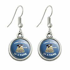 Whale Funny Humor Dangling Drop Charm Earrings I Don't Belong in a Tank Orca