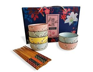 Japanese Chinese Blossom Style Rice Bowl Gift Set - UK Seller, Fast Delivery
