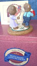 "1988 HALLMARK TENDER TOUCHES CHRISTMAS 2 3/4"" BOY BEAR GIVING GIFT TO GIRL -NRFB"