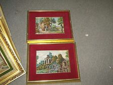 "Pair @ 2 Hand Stitched Needlepoint Petit point Scene Tapestry 6""x8.5"" - 10""x13"""