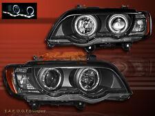 2000-2003 BMW X5 E53 DUAL HALO PROJECTOR HEADLIGHTS W/ LED STRIP BLACK 01 02