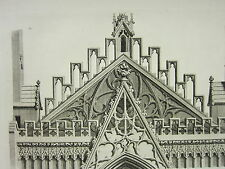 1795 PRINT GOTHIC ORNAMENT YORK MINSTER ~ PEDIMENT BETWEEN TWO TOWERS WEST END