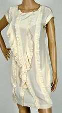$288 NEW BCBG MAXAZRIA WOVEN SILK RUFFLED CHALK DRESS XXS