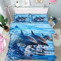 3D Delfini Oceanici Letto Federe Trapunta Piumone Copertina Impostato Singolo IT