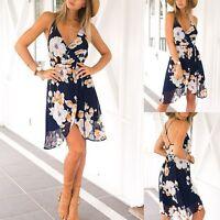 Summer Women Floral V Neck Chiffon Dress Beach Party Club Sundress Slim Sexy