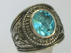 Stainless Steel United States Army Military March Aqua Marine Men Ring Size 7-15