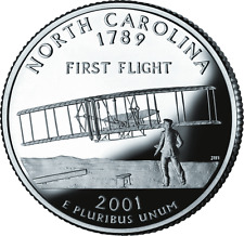 "2001 S PROOF 90% SILVER ""North Carolina"" Statehood Washington Quarter Cameo"