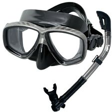 Scuba Diving Snorkeling Mask 100% Dry Snorkel Water Sports Gear Package Set