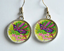 Mardi Gras Mask Earrings / Silver-tone Fish Hook / New Orleans ~ Fat Tiesday