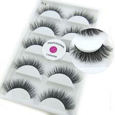 A19 LASGOOS Real Mink 5Pairs 3D False Eyelashes Cross Volume Natural Fake Lashes