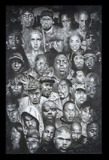 (FRAMED) HIPHOP HERO FACES POSTER 96x66cm PRINT PICTURE HOME DECOR