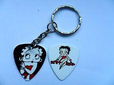 Betty Boop DOS foto Púa de Guitarra Plectro PLATA LLAVERO