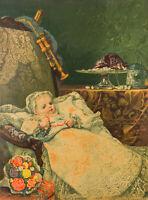 "Antique Original 1879 Chromolithograph ""Baby's Birthday"" True & Co. Augusta, ME"