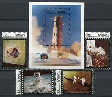 DOMINICA 1989 Raumfahrt Space 1. Mondlandung 1233-36 + Bl.155 ** MNH