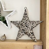 Large 40cm Willow Star Wreath Antique Wash Shabby Rustic Wicker Wall Hanging