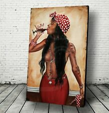 """JEREMY WORST """"Conjure"""" Sexy African American Art Decor drinking wine Canvas Wall"""