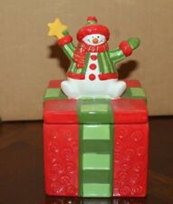 2-pc. Fitz & Floyd Holiday Folk Snowman Present Gift Ceramic Trinket Box w/ Lid