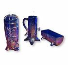 COBALT BLUE CARNIVAL GLASS HATPIN HOLDER & PUMP SET, Depression Style, Vintage