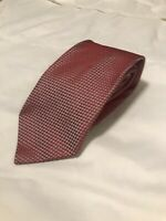 ERMENEGILDO ZEGNA Mens 100% Silk Classic Necktie ITALY Luxury Geometric Red Tie