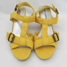 New Naturalizer Yellow Fabric Ankle T-Strap Wedge Heels Sandals Shoes 7M