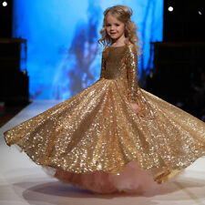 Long Sleeved Pageant Bling Prom Gown Gold Formal Dress for Little Girl