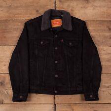 "Mens Vintage Levis Red Tab Black Denim Sherpa Trucker Jacket Small 36"" R15425"