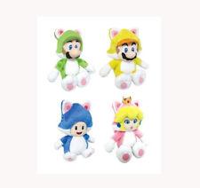 """Set of 4 3D World 9"""" Cat Mario,Cat Luigi,Cat Princess Peach,Cat Toad Plush Doll"""