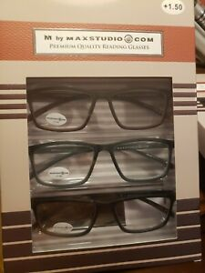 M by Max Studio Premium Quality 3 Pair Reading Glasses READERS BROWN, GREY,BLACK