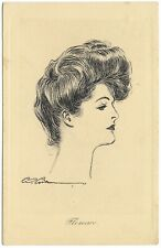 Gibson Girl Florence pencil sketch postmark 1907 - Henderson Pictorial Comedy