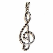 MUSIC NOTE PENDANT Marcasite Studded Treble Clef .925 STERLING SILVER
