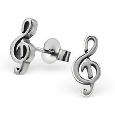 Stainless Steel Musical Note Treble Clef Stud Earrings - Boxed Silver Symbol New