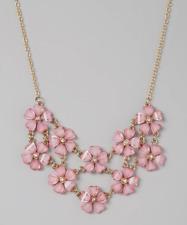 Lux Accessories Hot Pink & Gold Flower Bib Necklace
