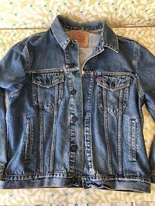 Vintage Levi Strauss 70503 02 Mens Blue 90s Denim Jean Trucker Jacket Size M