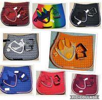 Horse English Saddle Pad Set 6 Colors Matching Fly Bonnet/Veil Ear Net Cotton