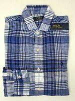 NWT $98 Polo Ralph Lauren Blue Plaid Shirt Mens Size S  L XL XXL Linen SS NEW