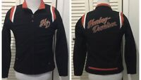 Harley Davidson Women's Full Zip Motorcycle Jacket Black Orange Spell Out Medium