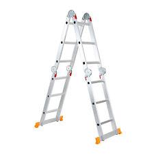 Aluminum Ladder Foldable 12.3Ft Step Scaffold Extendable Platform Multi-Purpose