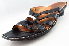 Think! Slides Black Leather Women Shoes Size 37 Medium (B, M)