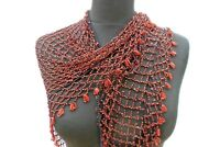 Lovely pretty vintage red beaded shoulder shawl, cape with bead edging