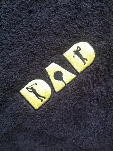 Personalised Embroidered Golf Towel Dad And Name If Req'd Fathers Day, Birthday