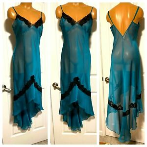 FREDERICKS OF HOLLYWOOD SILKY SHEER BLUE W/ BLACK LACE HI-LOW  NIGHTGOWN SZ l