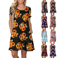 Women Summer Short Sleeve Floral Pocket Sundress Swing Short Mini Dress Shirt