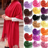 Fashion Women Girls Warm Soft Cashmere Silk Solid Long Pashmina Shawl Wrap Scarf