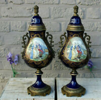 PAIR limoges french porcelain victorian romantic scene porcelain vases