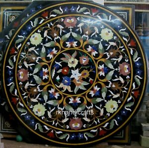 Black Marble Dinning Table Pietra Dura Art Hallway Table Top with Unique Design
