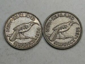 2 XF Silver 6 Pence New Zealand: 1934 & 1935.  #57